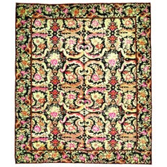 Early 20th Century Russian Bessarabian Floral Handmade Wool Rug