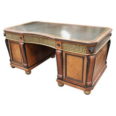 Early 20th Century Russian Brass Greek Key Inlaid Executive Desk with Lions