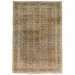 Early 20th Century Rustic Persian Handmade Accent Carpet in Shades of Brown