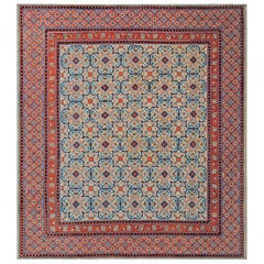 Early 20th Century Samarkand 'Khotan' Handmade Rug in Orange, Beige and Blue