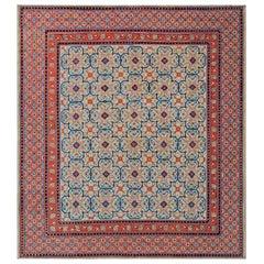 Early 20th Century Samarkand 'Khotan' Handmade Rug in Orange, Beige and Blue