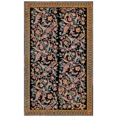 Early 20th Century Savonnerie Floral Handwoven Wool Rug 'Size Adjusted'