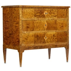 Early 20th Century Scandinavian Art Nouveau Birch Chest of Drawers