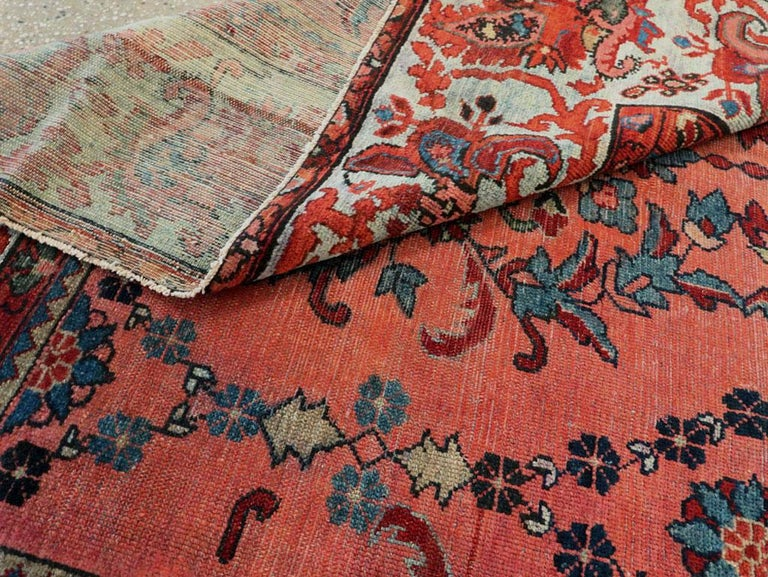 Early 20th Century Scarlet Red and Slate Blue Unique Floral Carpet For Sale 3