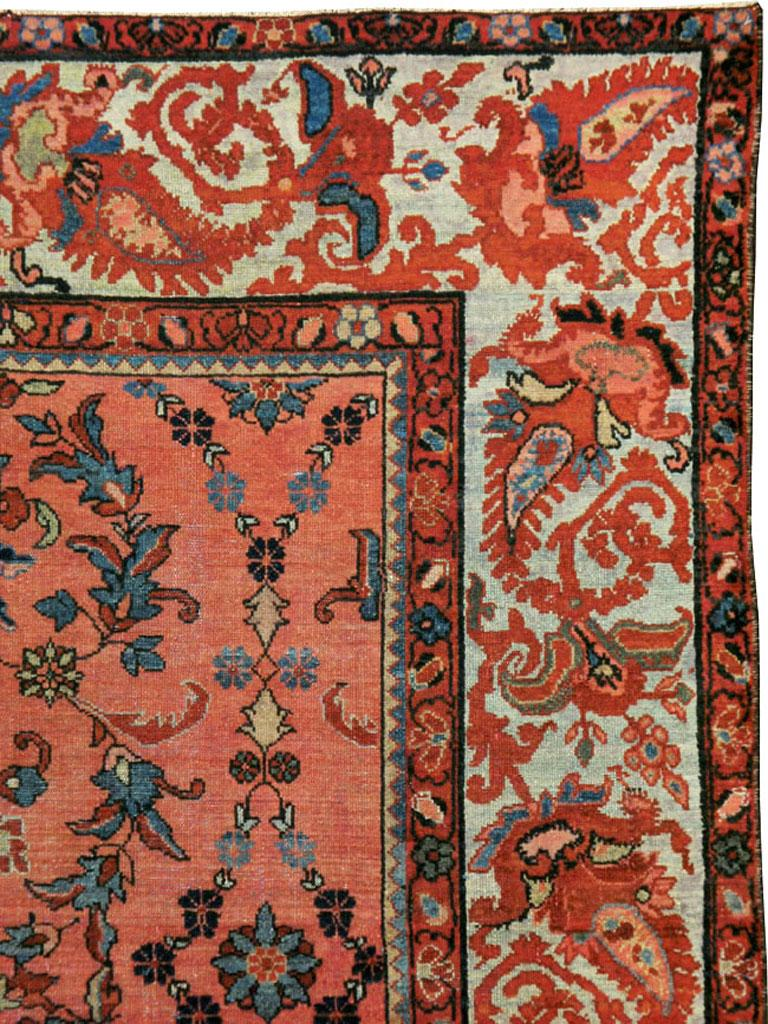 Victorian Early 20th Century Scarlet Red and Slate Blue Unique Floral Carpet For Sale