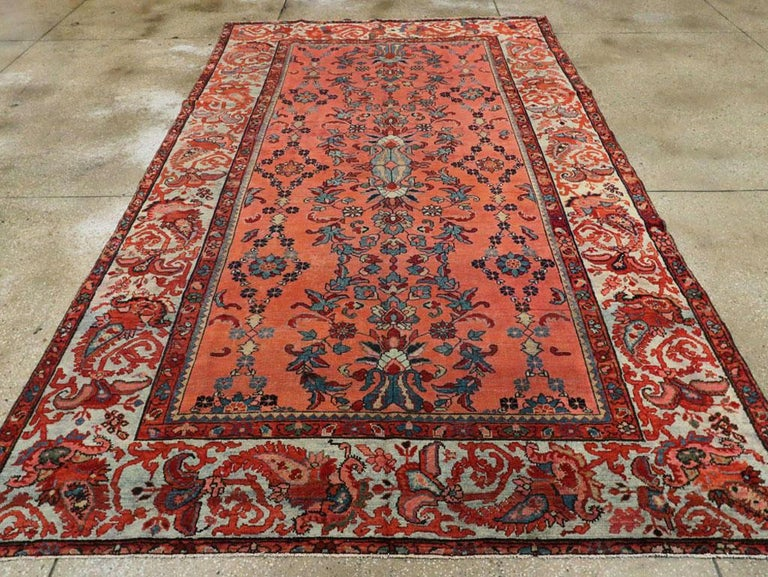 Hand-Knotted Early 20th Century Scarlet Red and Slate Blue Unique Floral Carpet For Sale