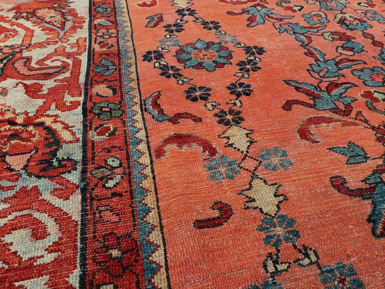 Early 20th Century Scarlet Red and Slate Blue Unique Floral Carpet In Fair Condition For Sale In New York, NY