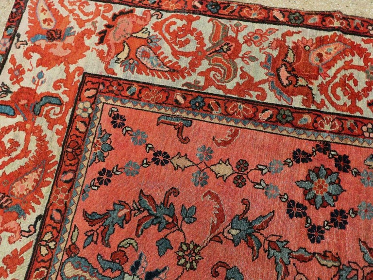 Wool Early 20th Century Scarlet Red and Slate Blue Unique Floral Carpet For Sale