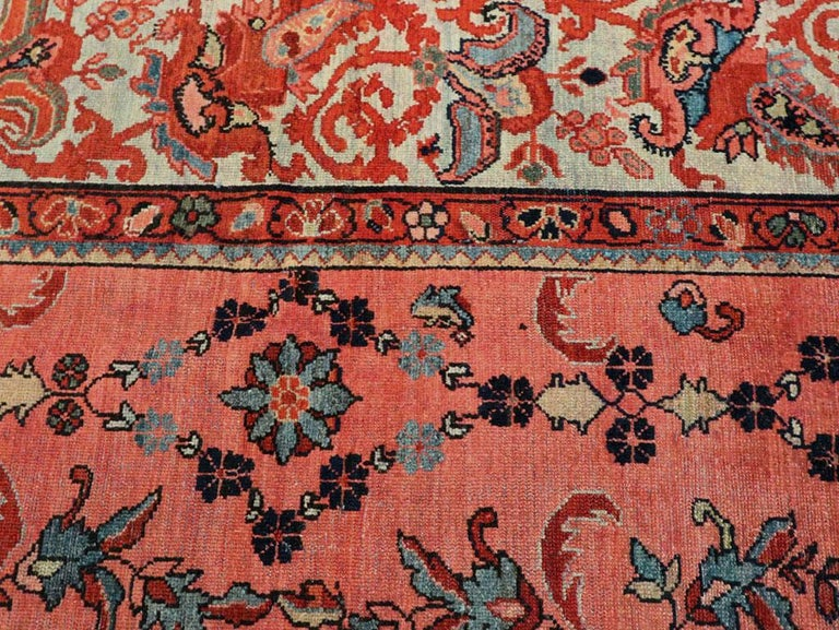 Early 20th Century Scarlet Red and Slate Blue Unique Floral Carpet For Sale 1