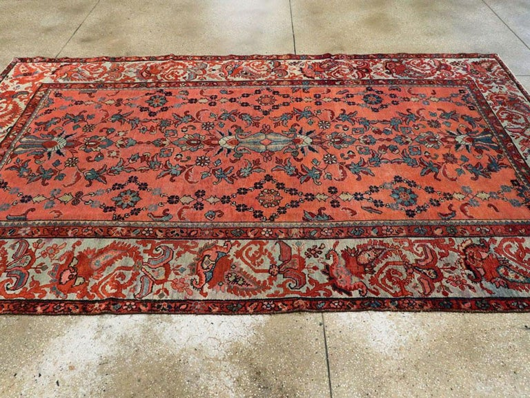 Early 20th Century Scarlet Red and Slate Blue Unique Floral Carpet For Sale 2
