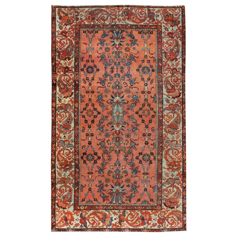 Early 20th Century Scarlet Red and Slate Blue Unique Floral Carpet For Sale