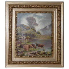Early 20th Century Scottish Highlands Cattle Oil Painting, circa 1913