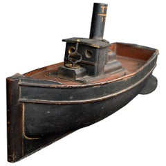 Early 20th Century Scratch-Built Clockwork Tugboat