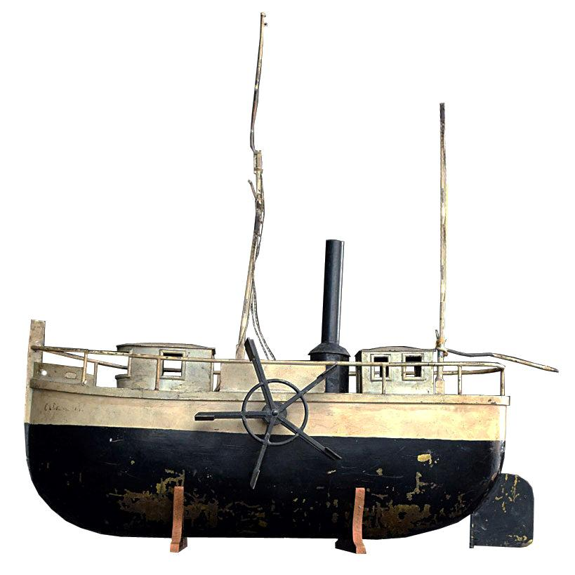 Early 20th Century Scratch Built English Paddle Boat Model