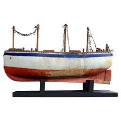 Early 20th Century Scratch Built Folk Art Boat Model