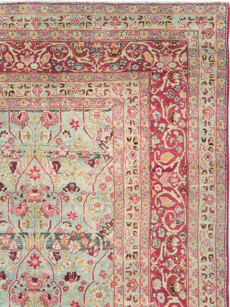 Victorian Early 20th Century Seafoam Green, Ruby Red and Pink Persian Room Size Rug For Sale