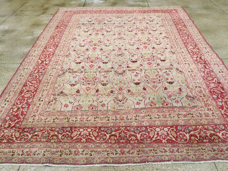Hand-Knotted Early 20th Century Seafoam Green, Ruby Red and Pink Persian Room Size Rug For Sale