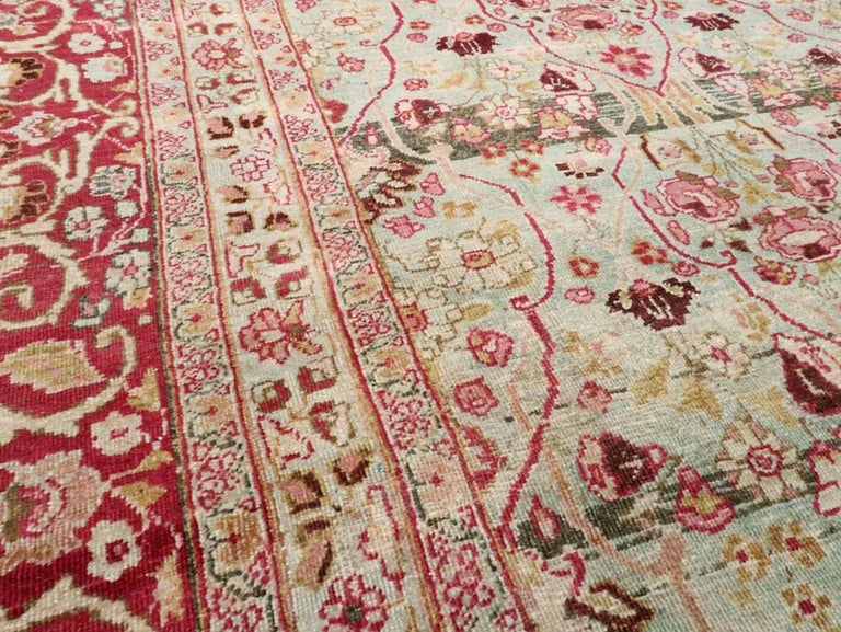 Early 20th Century Seafoam Green, Ruby Red and Pink Persian Room Size Rug In Good Condition For Sale In New York, NY