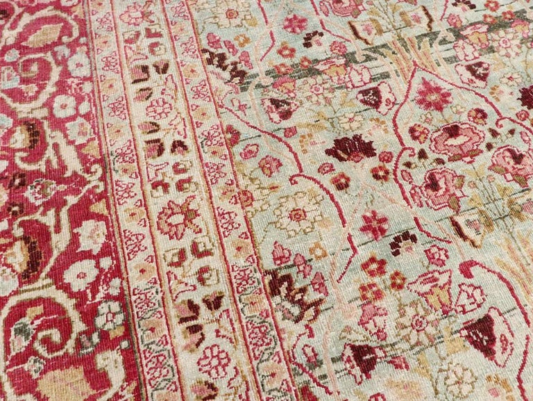 Wool Early 20th Century Seafoam Green, Ruby Red and Pink Persian Room Size Rug For Sale