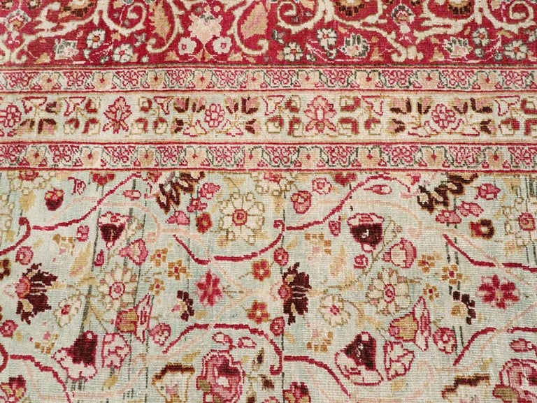 Early 20th Century Seafoam Green, Ruby Red and Pink Persian Room Size Rug For Sale 1