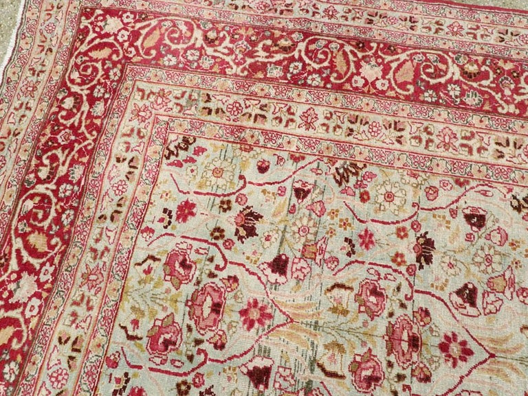 Early 20th Century Seafoam Green, Ruby Red and Pink Persian Room Size Rug For Sale 2