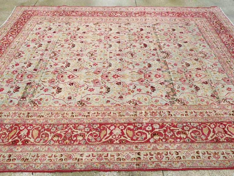 Early 20th Century Seafoam Green, Ruby Red and Pink Persian Room Size Rug For Sale 3