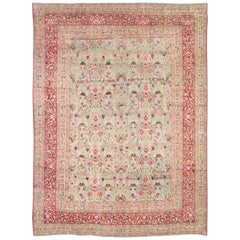 Early 20th Century Seafoam Green, Ruby Red and Pink Persian Rug