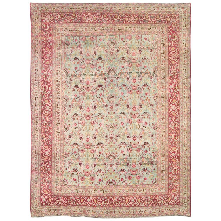 Early 20th Century Seafoam Green, Ruby Red and Pink Persian Room Size Rug For Sale