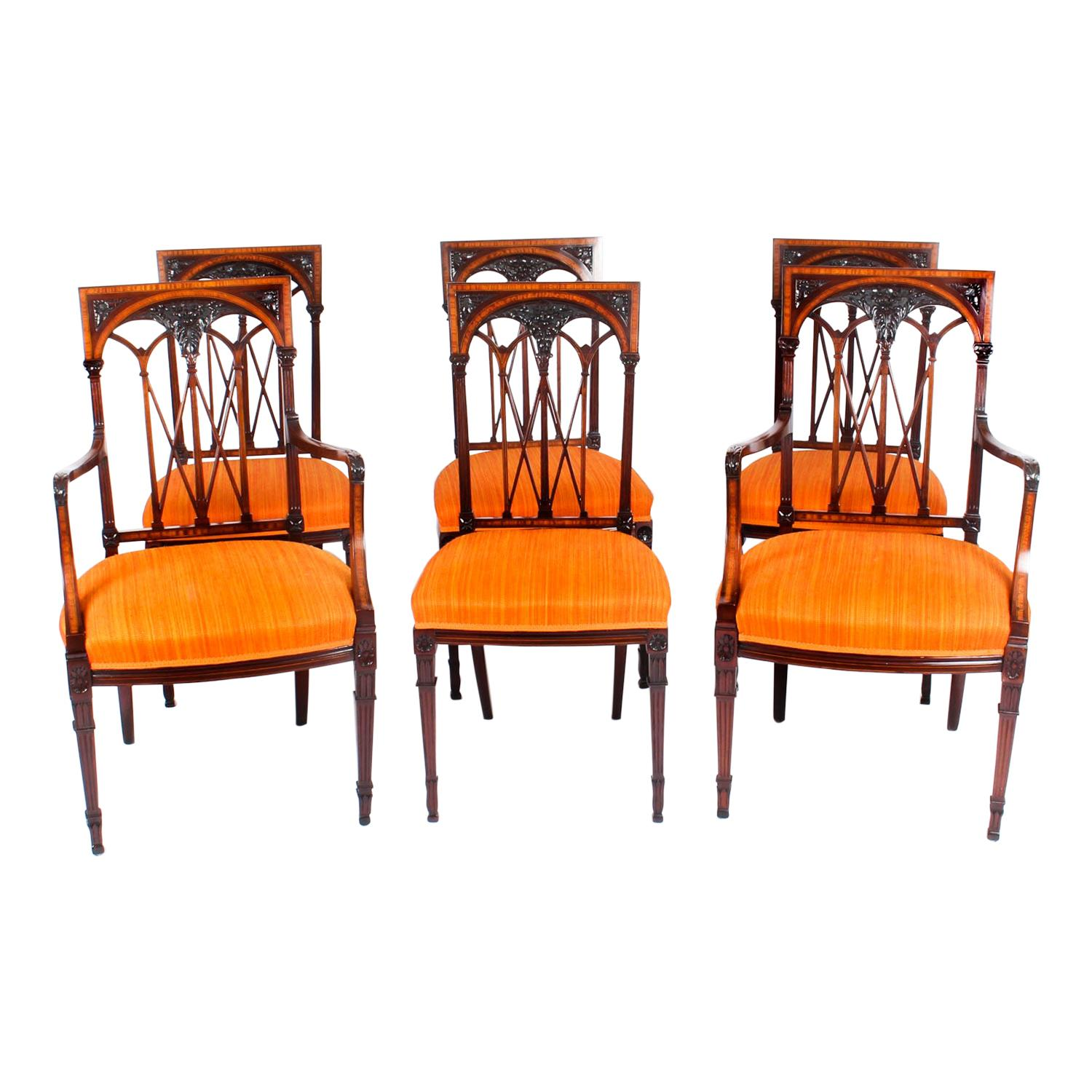 Early 20th Century Set 6 Sheraton Revival Mahogany and Satinwood Dining Chairs