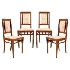 Early 20th Century Set of Four Chairs Art Nouveau in Walnut, Original Upholstery