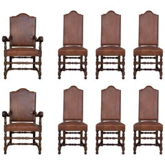 Early 20th Century Set of Dining Walnut Armchairs and Chairs with Leather