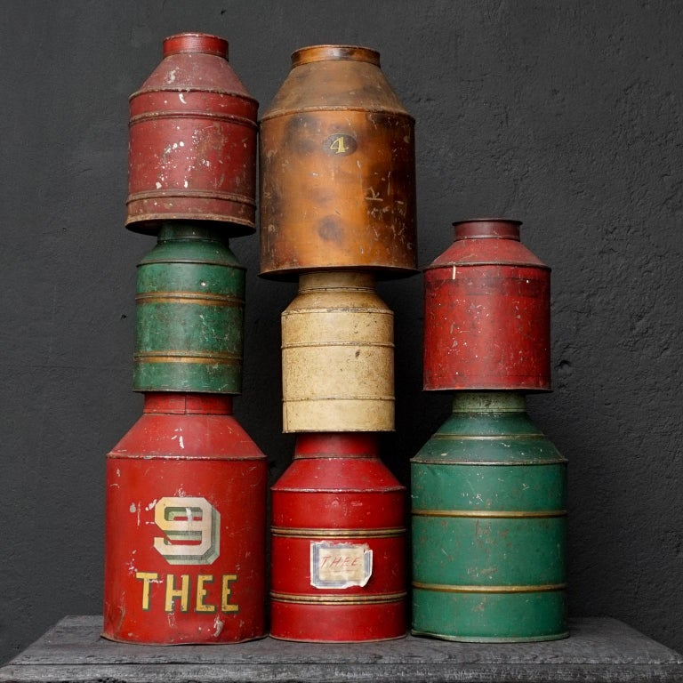 Highly collectable and very decorative this set of 8 antique Dutch tea tins or caddies.
