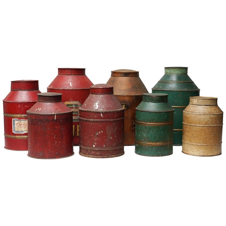 Early 20th Century Set of Eight Dutch Tea Tins For Sale