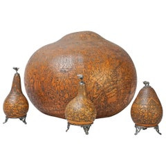 early 20th Century Set of Four Peruvian Carved Gourds