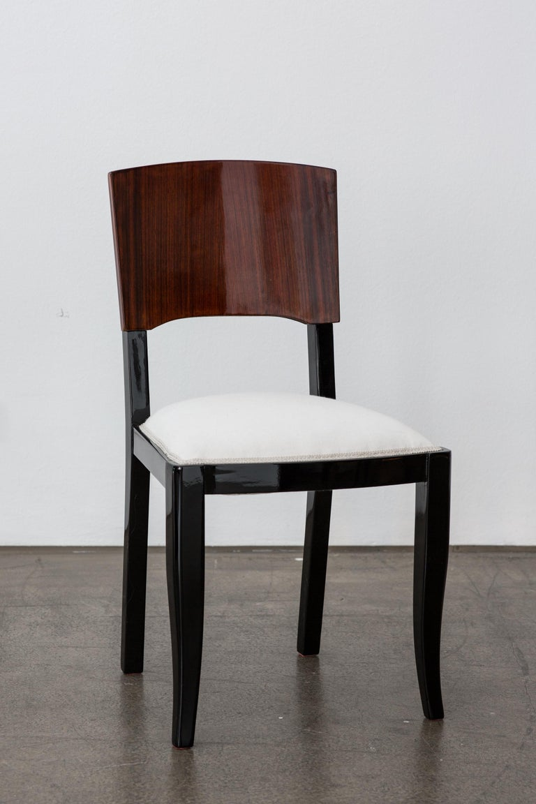 Lacquered Early 20th-Century Set of Six French Art Deco Dining Chairs Restored Conditions For Sale