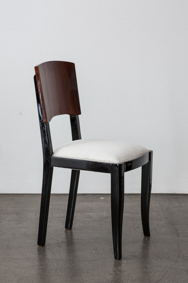 Early 20th-Century Set of Six French Art Deco Dining Chairs Restored Conditions In Good Condition For Sale In Vienna, AT