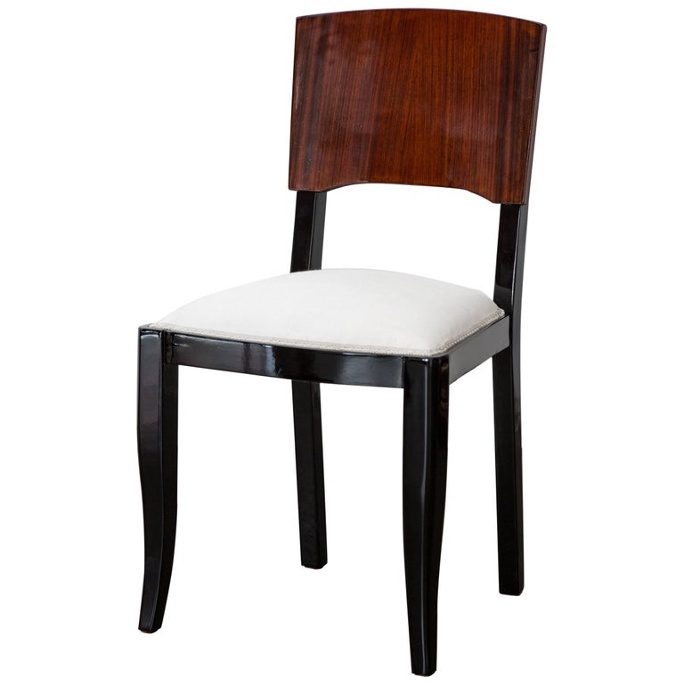 Early 20th-Century Set of Six French Art Deco Dining Chairs Restored Conditions For Sale