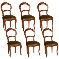 Early 20th Century Set of Six Louis Philippe Chairs Hand-Carved Blond Walnut