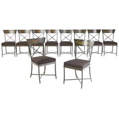 Early 20th Century Set of Ten Metal Chairs