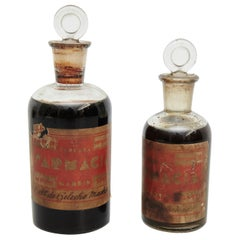 Early 20th Century Set of Two Antique Glass Apothecary Bottles