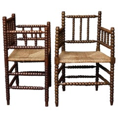 Early 20th Century Set of Two Dutch Turned Beech Bobbin Rush Matted Armchairs