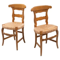 Early 20th Century Set of Two French Provincial Rattan and Wood Chairs
