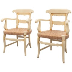 Early 20th Century Set of Two Provenzal Armchairs in Wood and Rattan