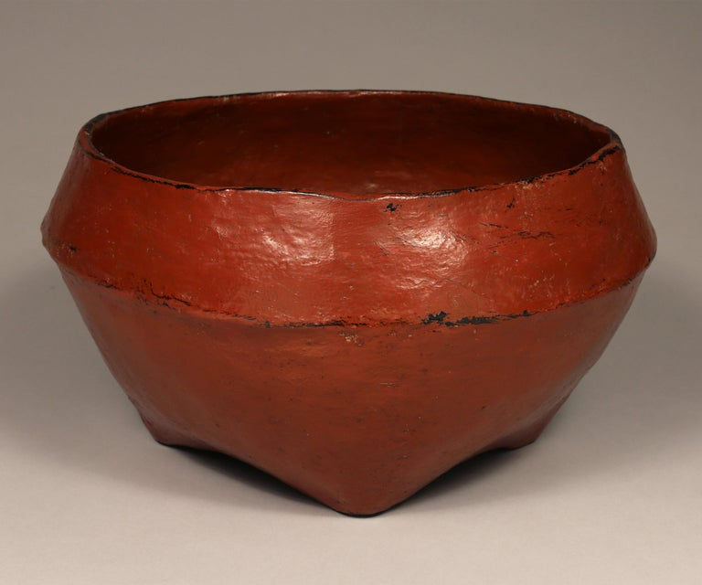 Tribal Early 20th Century Set of Two Red Lacquered Offering Bowls, Burma For Sale