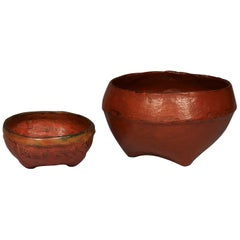 Early 20th Century Set of Two Red Lacquered Offering Bowls, Burma