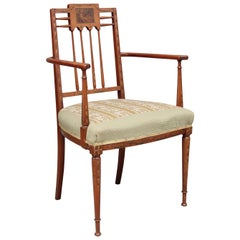 Early 20th Century Sheraton Revival Satinwood Armchair
