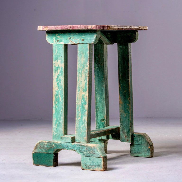 Primitive Early 20th Century Side Table with Original Paint For Sale