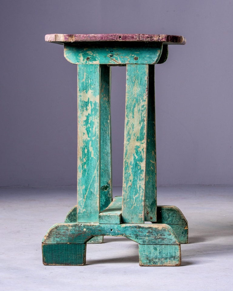 Wood Early 20th Century Side Table with Original Paint For Sale