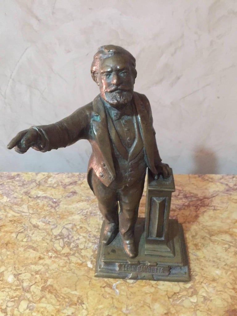 Early 20th century bronze status of French Politian Leon Gambetta. Nice patina. Signed A. Millot.
