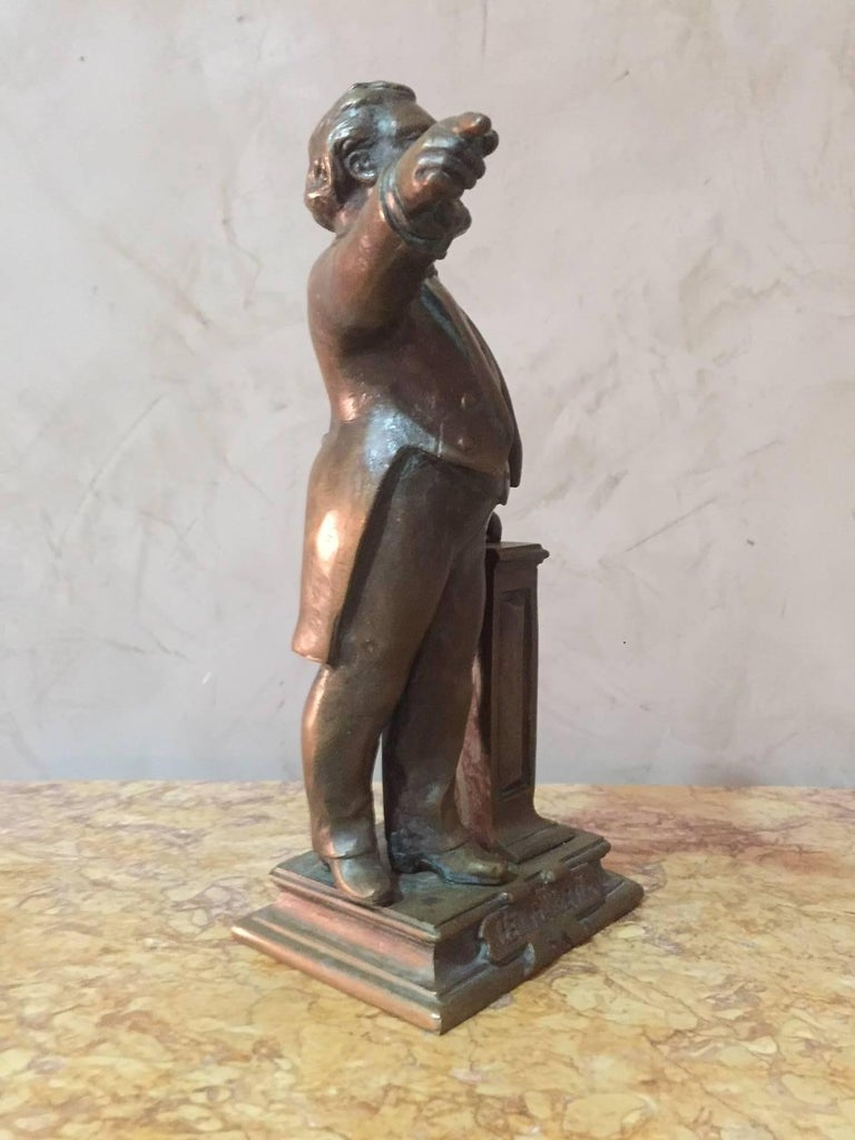 Early 20th Century Signed Bronze Status of French Politian Leon Gambetta For Sale 1